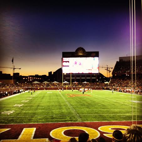 A view of the football field at TCF Bank Stadium during Gopher football.
